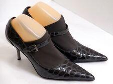 EUC Donald J. Pliner Women's Size 8M Black Patent Leather Moc Croc Modern Pumps