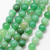 Natürliche Streifen Achat Perlen Rund Indische Grün 8mm Edelsteine BEST G722