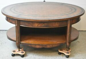 Maitland Smith Mahogany Coffee Table Two Tier Leater Tooled Top