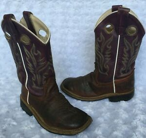 Old West Little Boys Brown Leather Western Cowboy Boots (Size 11)