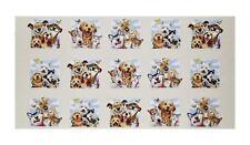 "Elizabeth's Studio Pet Selfies Dog and Cats Cream 100% Cotton Fabric Panel 23"""