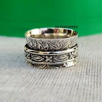 Solid 925 Sterling Silver Spinner Ring Wide Band Meditation Statement Jewelry e9