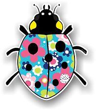 Belle Coccinelle Ladybug design avec coloré Daisy Motif Floral Autocollant Voiture