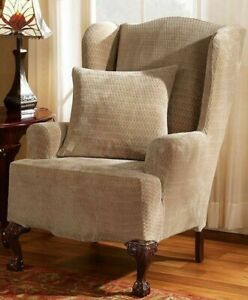 NEW Sure fit Stretch Royal Diamond  Wing Chair Slipcover washable Cream B