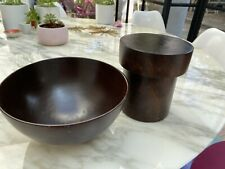Wooden Bowl and Pot With Lid