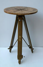 Compass design rustic wooden table heavy duty tripod stand furniture coffee tea