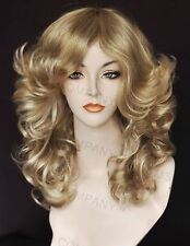 Glamorous New Big open Wavy Farrah Fawcett Blonde Mix Wig w Bangs CA 24-613