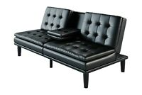 Faux Leather PillowTop Sofa Futon Couch Bed Memory Foam Home Furniture Cupholder