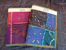 x2 Large Vintage Recycled Indian Sari Fabric Note Books Hand Made Paper 40 pages