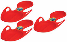 Red Plastic Rocket Snow Sled with built-in handles for One Rider Pack of 3
