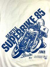 Vintage Seattle Superbike Shirt 1985 Ama Strohs Beer Kent White Long Sleeve Rare