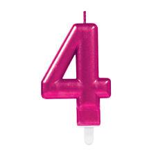 Birthday Cake Candle - Number 4 Four - Pink Metallic Cake Decoration - 9901786