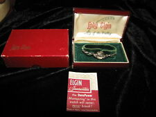 Vintage Lady Elgin Womens 14 kt White Gold and Diamond Watch with Box