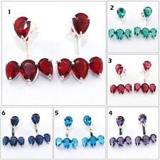 Pear Garnet Topaz Amethyst Quartz Silver Plated Stud Cum Jacket Earrings Jewelry