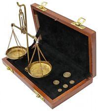 Waage Feinwaage Goldwaage Messing Apothekerwaage Holzbox Antik-Stil