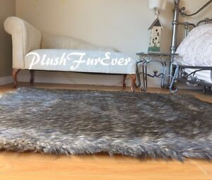 """48"""" x 58"""" Black Tip Wolf Plush Rectangle Area Lodge Cabin Decor Accents Home Rug"""