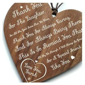 A Friend Like You - Inspirational Friendship Heart Plaque Personalised Wood Gift