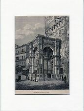 Antique matted print :piazza del campo Siena Tuscany italy 1867 stampa antica