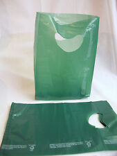 "100 Bags 7 x 3 x 12"" Green Plastic Merchandise Bags with Handles New"