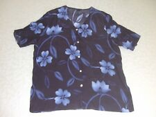 sixth sense blue/black short sleeve button up blouse v neckline, size 18