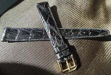 New Womens Cyma Black Genuine Crocodile 14mm Watch Band Gold Tone Buckle $59.95