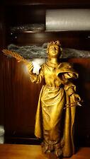 Large antique rare wooden hand carved Patron Saint St Apollonia statue figure