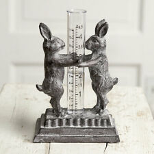 New listing Bunny Buddies Cast Iron Tabletop Rain Gauge Outdoors Rustic Vintage Style