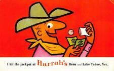 HARRAH'S Cowboy Comic Reno & Lake Tahoe, Nevada Casino ca 1950s Vintage Postcard