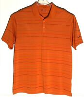 Men's Nike Golf Fit Dry Orange Short Sleeve STRIPED Polo Shirt Size XL