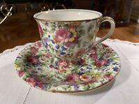 ROYAL WINTON England Summertime Chintz Floral Teacup & Saucer Set~1930s~Teatime