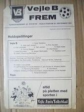 1972 programma di calcio-VEJLE B V frem, 24 SETTEMBRE 1972; (singolo foglio)
