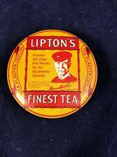 Rare Lipton'sTea Planter Ceylon Collectible Yellow Metal Tin Bristolware Round