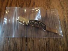 U.S MILITARY ARMY AIRBORNE TIE BAR TIE TAC  CLIP ON U.S.A MADE BLACK ROCKER