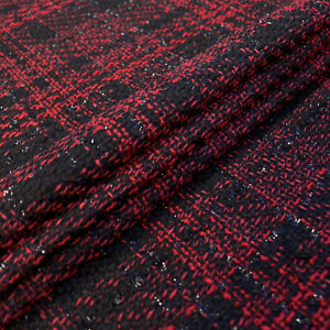 Boucle fabric - Check design - Black and red - Black lurex embellishment