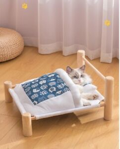 Elevated Pet Cat Bed Removable Sleeping Bag Hammock Beds Lounger Wooden