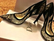 Christian Dior Black Lace Mesh Pointy Toe Heels Pumps Size 35.5 NIB $830
