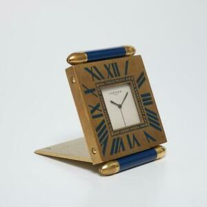 CARTIER BLUE ENAMEL & GOLD PLATE QUADRANT TRAVEL POCKET ALARM CLOCK W/ BOX