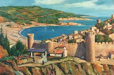 Pedro Clapera (Pseud) Signed Vtg c1960s Oil Painting Tosa, Costa Brava, Spain