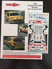 DECALS 1/43 PEUGEOT 207 S2000 THIERRY NEUVILLE RALLYE TOUR DE CORSE 2011 RALLY