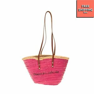 CUPLE Woven Straw Shoulder Bag HANDMADE Coated Panel Fully Lined Zipped
