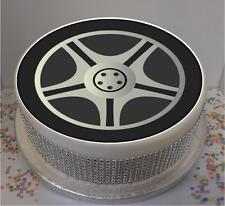 "Novelty Car Wheel 7.5"" Edible Icing Cake Topper birthday mechanic motor vehicle"