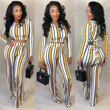 Women 2 Piece Outfits Long Sleeve Crop Top Pants Set Casual Jumpsuit ZG9