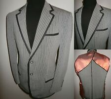 New Grey Black Stripe Boating Blazer Suit Jacket Mens 42 S College Sport Coat
