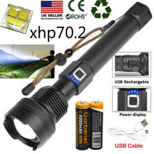 99000Lumens xhp70 Ultra Bright LED USB Rechargeable Zoom Flashlight Torch Lamp