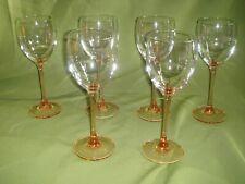 6 FRENCH DURAND LUMINARC  PINK PEACH STEM WINE GLASSES 19.5CM.