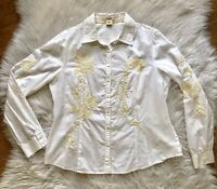 SUNDANCE floral boho EMBROIDERED White/Cream shirt top BUTTON UP Size P14