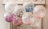 Giant Clear Confetti Balloon Jumbo Latex 60cm / 24 inches Your Choice Of Colour