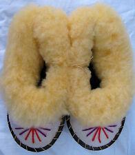 Kinder Gr. 18 Lammfell Pantoffeln Winter Warm Ledersohle