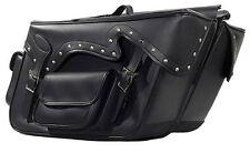 LARGE QUICK DETACH MOTORCYCLE PVC LEATHER SADDLEBAGS w/STUDS UNIVERSAL FIT-BLACK