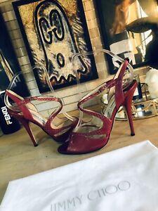 Jimmy Choo Red Leather Stilettos Size Uk 4.5 37.5